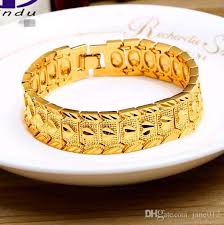gold bracelet styles images 2018 24k gold plated bracelet for men women handsome boy yellow jpg