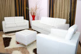 White Living Room Set Leather 3pc Living Room Set W Free Ottoman