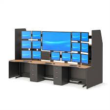 Recessed Monitor Computer Desk Security Desks Central Station Monitoring Furniture