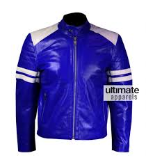 leather motorcycle jacket men blue leather motorcycle jacket with white stripes