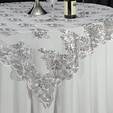 silver lace table overlay silver swirl sequin lace 72 x 72 overlay