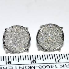 10mm diamond earrings studs 0 32ct 10k white gold large 10mm big pave set
