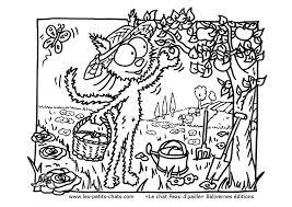 Coloriage le chat cueille des pommes Les Petits Chats
