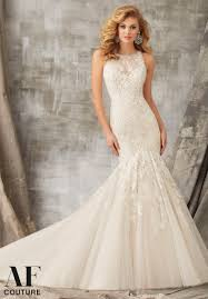 mori halter neck wedding dress morilee bridal chantilly and venice lace appliques combined on