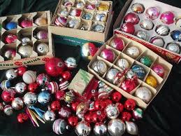 lot vintage tree ornaments mercury glass balls in boxes