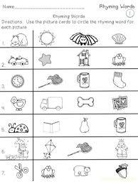 kindergarten rhyming worksheets worksheets
