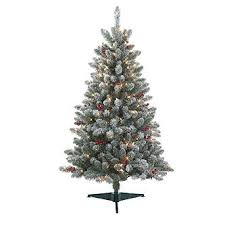4 5 pre lit redwood pine flocked spruce tree kmart
