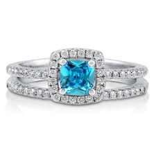 silver wedding ring sets sterling silver cushion simulated aquamarine cubic zirconia cz