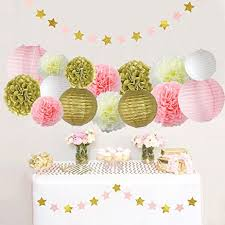 pink and gold decorations pom poms flowers kit