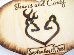 buck and doe heart deer cake topper buck and doe country wood heart