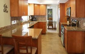 narrow kitchen ideas black wooden kitchen cabinet white quartz