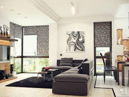 small grey theme modern living room with white accent decorating