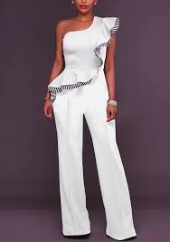 white jumpsuit white striped ruffle asymmetric shoulder one wide