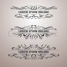 vintage decor elements vector set wicker lines calligraphic