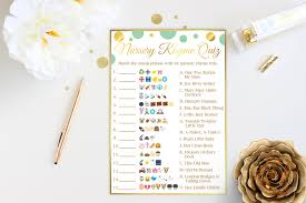 emoji nursery rhyme quiz mint and gold baby shower game