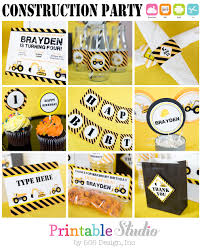 construction birthday party printables and invitation