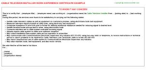 Meat Cutter Job Description Resume by Cable Television Installer Work Experience Certificate