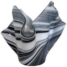 Handkerchief Vase Black And White Handkerchief Vase In The Style Of Venini