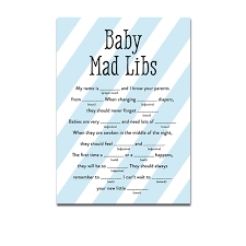 baby mad libs baby shower blue white stripes baby boy activity mad libs