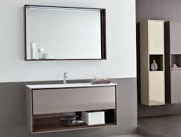 Wall Mounted Bathroom Vanity by Large Bathroom Mirror With Shelf Above Single Sink Wall Mounted
