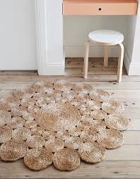 Round Natural Rug by Custom Handmade Crochet Natural Hemp Rag Round Rug By Hammers And