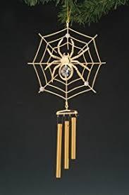spider web gold swarovski wind chime ornament