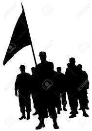 Soldier With Flag Soldiers People With Large Flags Royalty Free Cliparts Vectors