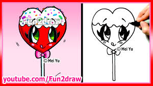 how to draw a heart lollipop youtube