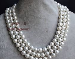 white shell pearl necklace images Shell pearl necklace etsy jpg