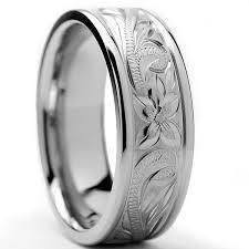 ring titanium oliveti titanium men s engraved floral design ring 8 mm free