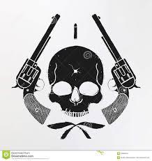 skull and pistols emblem stock vector illustration of