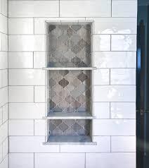 Small Bathroom Shelf Arabesque Tile Shower Shelf Niche White Subway Shower Tile Marble