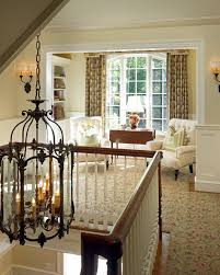 Wood Banister Lantern Pendant Light Hall Traditional With Floral Rug Wood