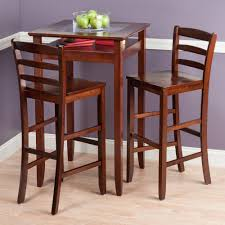 Rustic Bistro Table And Chairs Winsome Wood Halo Pub Table Set With Ladder Rustic And