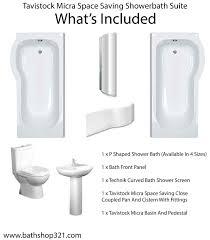 P Shaped Shower Bath Suites Tavistock Micra Space Saving Showerbath Suite Bathshop321
