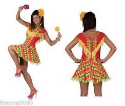 ladies mexican spanish chilli pepper print flamenco fancy dress