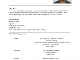 format of resume blank csat co