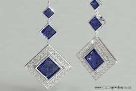diamond earrings nz antique style princess cut sapphire deco pendant earrings new