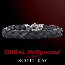 leather bracelet with silver clasp images Scott kay leather bracelets for men tribal hollywood jpg
