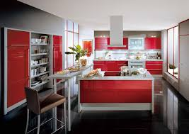 Red Kitchen Furniture Red Kitchen Accents Wooden Slat Walls And Ceilings Brown