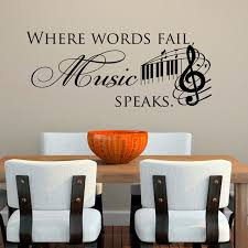music note home decor where words fail music speaks wall stickers musical notes home decor