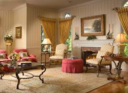 Traditional Family Rooms by Furniture Round Tufted Ottoman And Wallpaper In Traditional