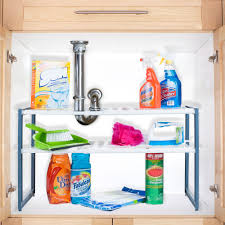 Kitchen Wrap Organizer by Stalwart Adjustable Under Sink Shelf Organizer Unit Walmart Com