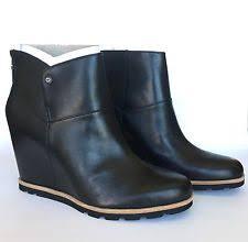 ugg australia emalie 1008017 black leather ankle waterproof ugg australia s ankle solid wedge boots ebay