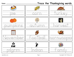 free printable thanksgiving words handwriting tracing worksheet