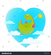 dragon flying sky fun cute cartoon stock vector 436448803