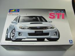 small subaru car subaru impreza wrx sti satin white pearl aoshima car model kit com