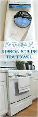quick and easy ribbon trimmed kitchen towels setting for four