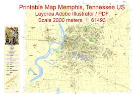 Map Of Memphis Tennessee by Memphis Printable Map Tennessee Us Exact Vector City Plan Map