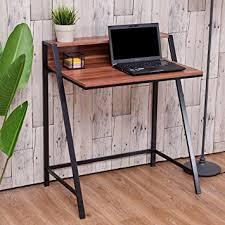 Computer Desk Hard Wood Amazon Com Tangkula 2 Tier Computer Desk Home Office Wood Writing